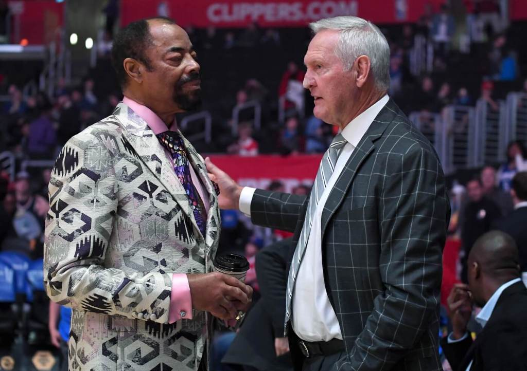 Mar 3, 2019; Los Angeles, CA, USA; New York Knicks legend and broadcaster Clyde Frazier talks with Los Angeles Clippers executive board member Jerry West before the game at Staples Center. Mandatory Credit: Jayne Kamin-Oncea-USA TODAY Sports