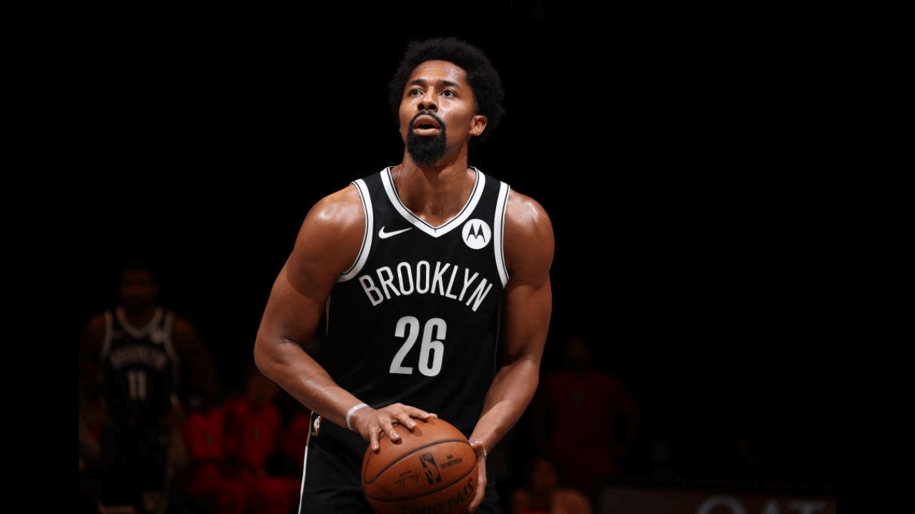 BROOKLYN, NY - December 13: Spencer Dinwiddie #26 of the Brooklyn Nets shoots a free throw against the Washington Wizards during a preseason game on December 13, 2020 at Barclays Center in Brooklyn, New York. NOTE TO USER: User expressly acknowledges and agrees that, by downloading and or using this Photograph, user is consenting to the terms and conditions of the Getty Images License Agreement. Mandatory Copyright Notice: Copyright 2020 NBAE (Photo by Nathaniel S. Butler/NBAE via Getty Images)