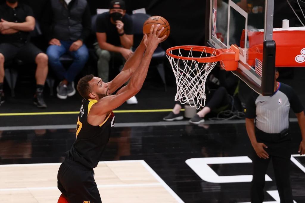 May 12, 2021; Salt Lake City, Utah, USA; Utah Jazz center Rudy Gobert (27) dunks the basketball against the Portland Trail Blazers during the first quarter at Vivint Arena. Mandatory Credit: Chris Nicoll-USA TODAY Sports