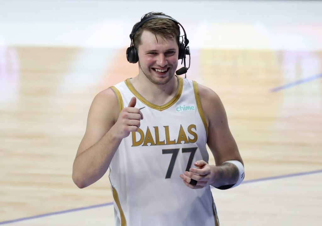 May 6, 2021; Dallas, Texas, USA; Dallas Mavericks guard Luka Doncic (77) reacts during an interview after the game against the Brooklyn Nets at American Airlines Center. Mandatory Credit: Kevin Jairaj-USA TODAY Sports