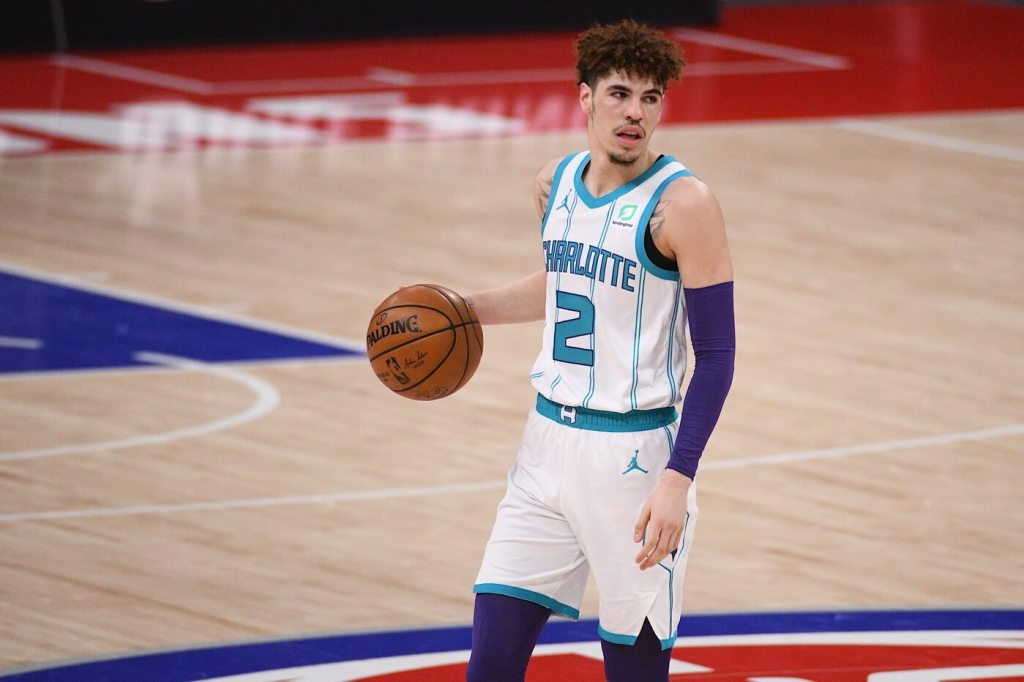 May 4, 2021; Detroit, Michigan, USA; Charlotte Hornets guard LaMelo Ball (2) handles the ball during the third quarter against the Detroit Pistons at Little Caesars Arena. Mandatory Credit: Tim Fuller-USA TODAY Sports