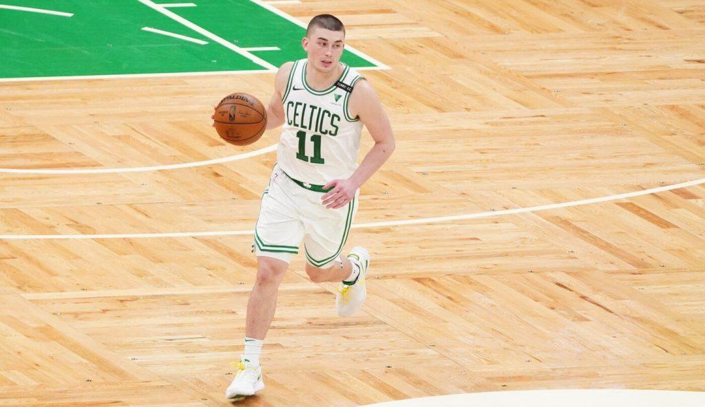 Apr 27, 2021; Boston, Massachusetts, USA; Boston Celtics guard Payton Pritchard (11) returns the ball against the Oklahoma City Thunder in the fourth quarter at TD Garden. Mandatory Credit: David Butler II-USA TODAY Sports