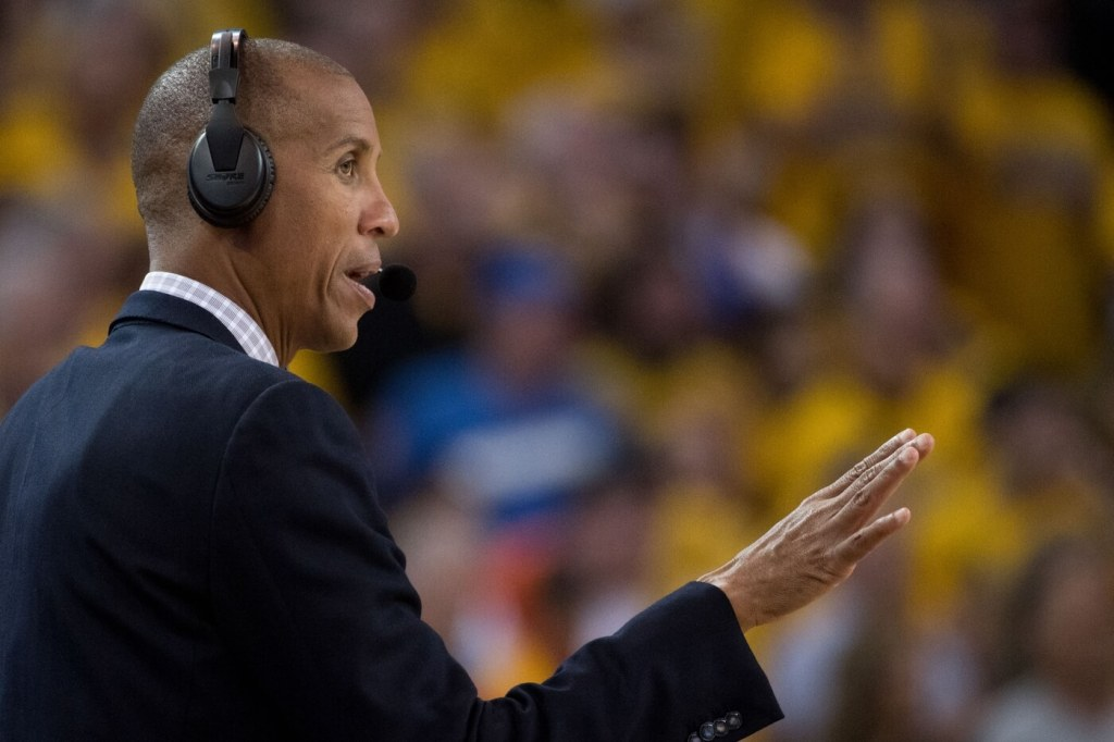 May 26, 2018; Oakland, CA, USA; TNT broadcaster Reggie Miller during the fourth quarter in game six of the Western conference finals of the 2018 NBA Playoffs between the Golden State Warriors and the Houston Rockets at Oracle Arena. The Warriors defeated the Rockets 115-86 for a 3-3 tie in the series. Mandatory Credit: Kyle Terada-USA TODAY Sports