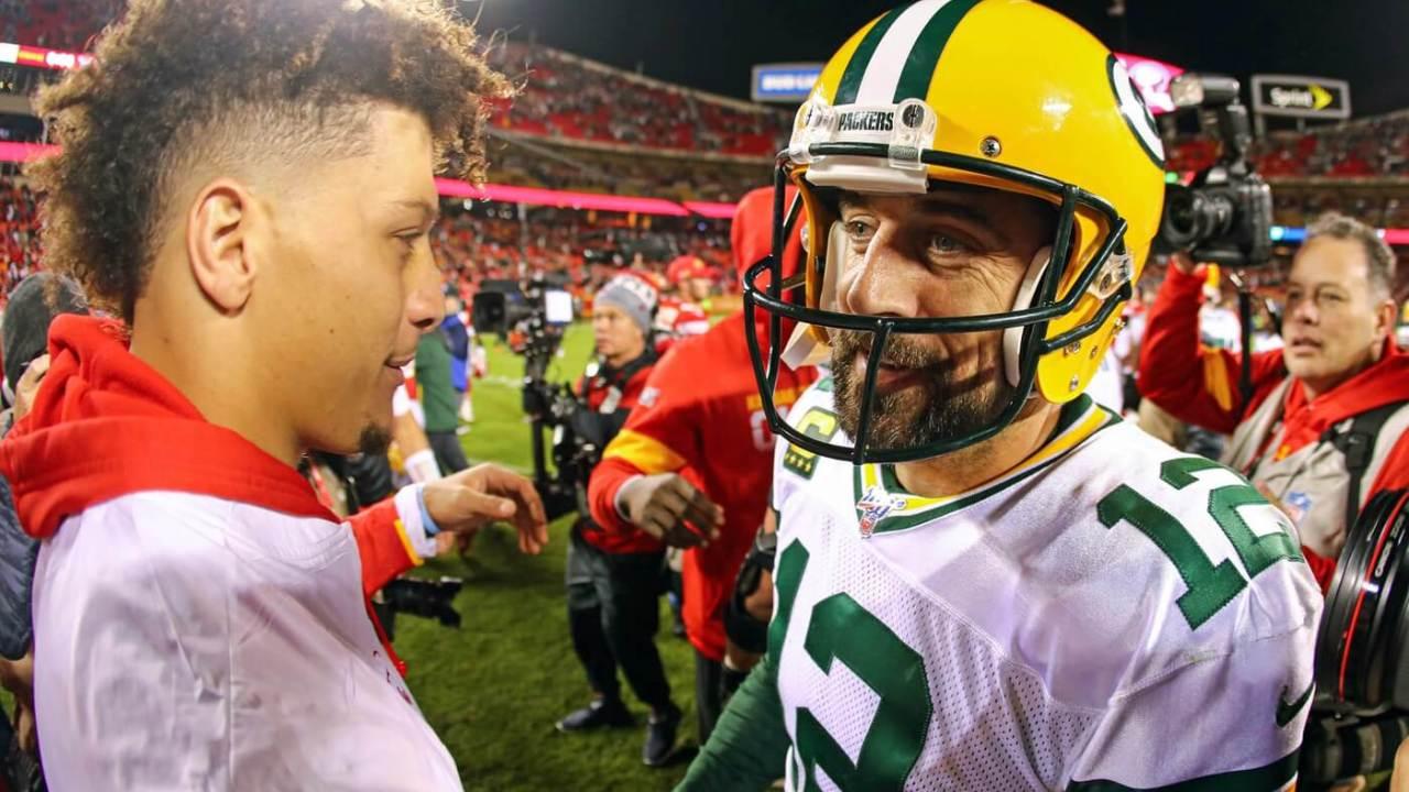 Oct 27, 2019; Kansas City, MO, USA; Green Bay Packers quarterback Aaron Rodgers (12) talks with Kansas City Chiefs quarterback Patrick Mahomes (15) after the game at Arrowhead Stadium. Mandatory Credit: Jay Biggerstaff-USA TODAY Sports
