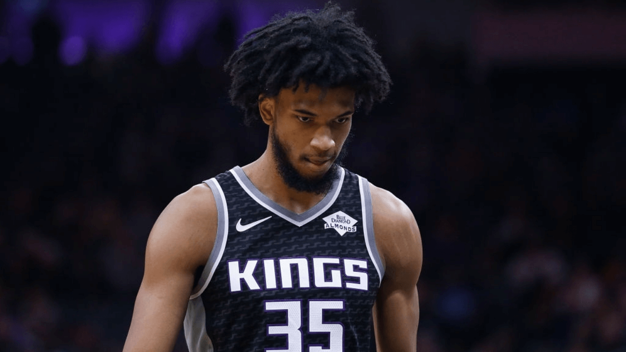 SACRAMENTO, CALIFORNIA - DECEMBER 26: Marvin Bagley III #35 of the Sacramento Kings looks on against the Minnesota Timberwolves in the first half at Golden 1 Center on December 26, 2019 in Sacramento, California. NOTE TO USER: User expressly acknowledges and agrees that, by downloading and/or using this photograph, user is consenting to the terms and conditions of the Getty Images License Agreement. (Photo by Lachlan Cunningham/Getty Images)