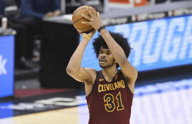 Apr 28, 2021; Cleveland, Ohio, USA; Cleveland Cavaliers center Jarrett Allen (31) attempts a three-point basket in the third quarter against the Orlando Magic at Rocket Mortgage FieldHouse. Mandatory Credit: David Richard-USA TODAY Sports