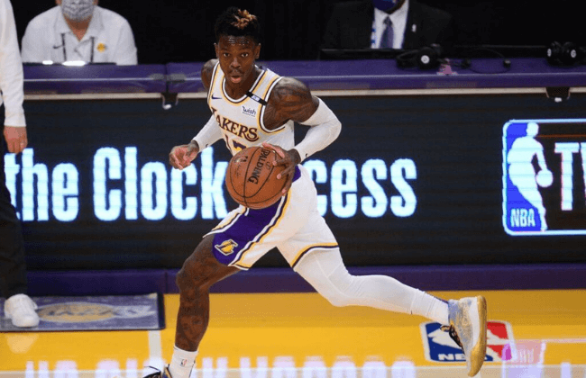 May 30, 2021; Los Angeles, California, USA; Los Angeles Lakers guard Dennis Schroder (17) moves the ball against the Phoenix Suns during the second half in game four of the first round of the 2021 NBA Playoffs. at Staples Center. Mandatory Credit: Gary A. Vasquez-USA TODAY Sports