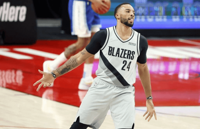May 7, 2021; Portland, Oregon, USA; Portland Trail Blazers small forward Norman Powell (24) reacts after a three-point basket during the first half against the Los Angeles Lakers at Moda Center. Mandatory Credit: Soobum Im-USA TODAY Sports