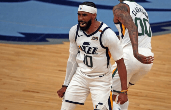 May 31, 2021; Memphis, Tennessee, USA; Utah Jazz guard Mike Conley (10) reacts during the third quarter during game four in the first round of the 2021 NBA Playoffs against the Memphis Grizzlies at FedExForum. Mandatory Credit: Petre Thomas-USA TODAY Sports