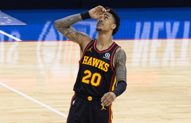 Jun 6, 2021; Philadelphia, Pennsylvania, USA; Atlanta Hawks forward John Collins (20) reacts after a victory against the Philadelphia 76ers in game one in the second round of the 2021 NBA Playoffs at Wells Fargo Center. Mandatory Credit: Bill Streicher-USA TODAY Sports