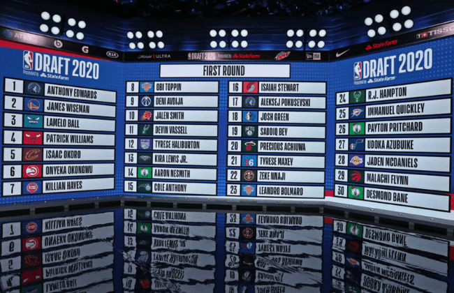 BRISTOL, CT - NOVEMBER 18: A wide angle view of the first round draft board during the 2020 NBA Draft on November 18, 2020 in Bristol, Connecticut at ESPN Headquarters. NOTE TO USER: User expressly acknowledges and agrees that, by downloading and/or using this photograph, user is consenting to the terms and conditions of the Getty Images License Agreement. Mandatory Copyright Notice: Copyright 2020 NBAE (Photo by Nathaniel S. Butler/NBAE via Getty Images)