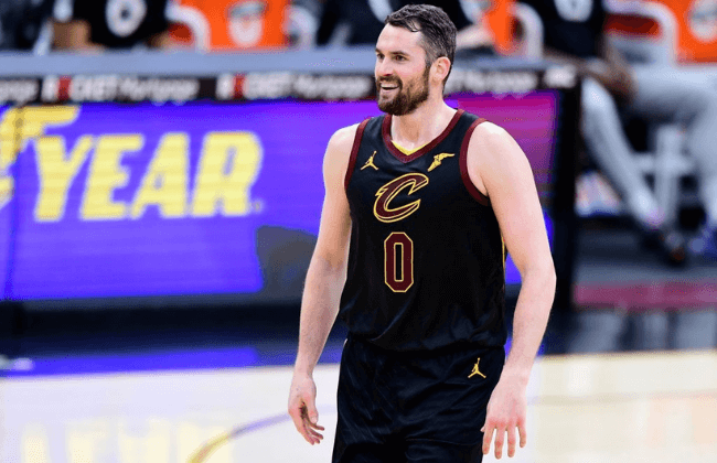 CLEVELAND, OHIO - MAY 12: Kevin Love #0 of the Cleveland Cavaliers reacts during their game against the Boston Celtics at Rocket Mortgage Fieldhouse on May 12, 2021 in Cleveland, Ohio. The Cleveland Cavaliers won 102-94. NOTE TO USER: User expressly acknowledges and agrees that, by downloading and or using this photograph, User is consenting to the terms and conditions of the Getty Images License Agreement. (Photo by Emilee Chinn/Getty Images)