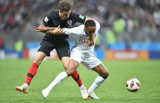 July 11, 2018; Moscow, Russia; England midfielder Raheem Sterling (10) plays for the ball against Croatia defender Sime Vrsaljko (2) in the semifinals of the FIFA World Cup 2018 at Saint Petersburg Stadium. Mandatory Credit: Tim Groothuis/Witters Sport via USA TODAY Sports