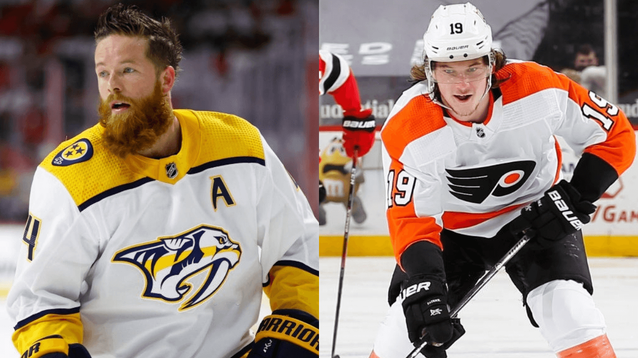 RALEIGH, NORTH CAROLINA - MAY 17: Ryan Ellis #4 of the Nashville Predators looks on prior to Game One of the First Round of the 2021 Stanley Cup Playoffs against the Carolina Hurricanes at PNC Arena on May 17, 2021 in Raleigh, North Carolina. (Photo by Jared C. Tilton/Getty Images)|NEWARK, NJ - APRIL 29: Nolan Patrick #19 of the Philadelphia Flyers plays the puck against the New Jersey Devils during the game at Prudential Center on April 29, 2021 in Newark, New Jersey. (Photo by Andy Marlin/NHLI via Getty Images)