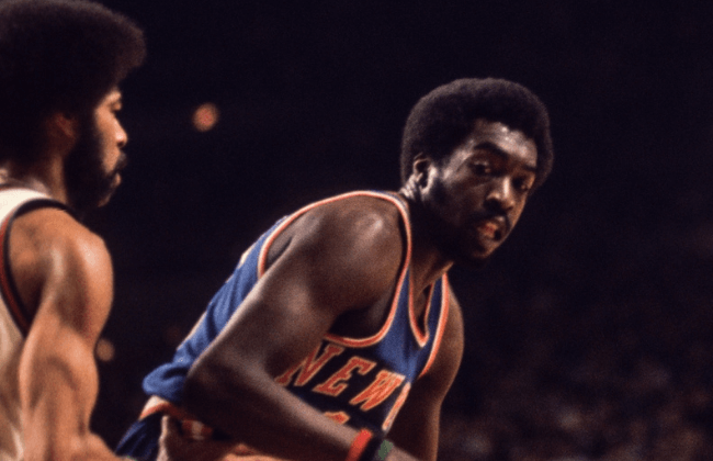 Feb 1972; USA; FILE PHOTO; New York Knicks guard Earl Monroe against the the Milwaukee Bucks.