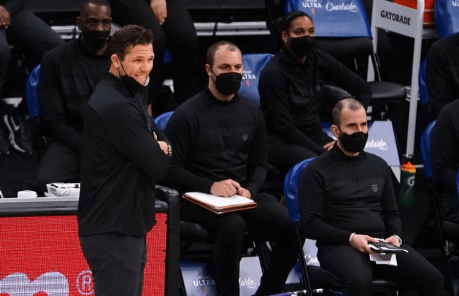 May 7, 2021; Sacramento, California, USA; Sacramento Kings head coach Luke Walton on the sideline during the first quarter against the San Antonio Spurs at Golden 1 Center. Mandatory Credit: Kelley L Cox-USA TODAY Sports