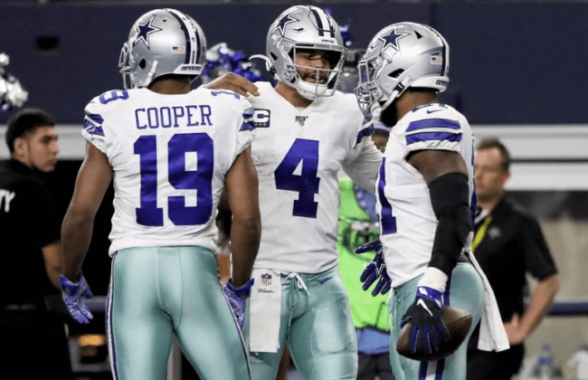 ARLINGTON, TEXAS - DECEMBER 29: Amari Cooper #19, Dak Prescott #4, and Ezekiel Elliott #21 of the Dallas Cowboys celebrate after scoring a touchdown in the second quarter against the Washington Redskins in the game at AT&T Stadium on December 29, 2019 in Arlington, Texas. (Photo by Ronald Martinez/Getty Images)