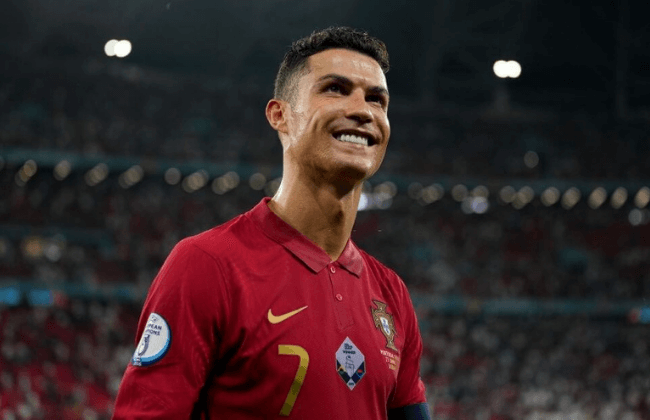 BUDAPEST, HUNGARY - JUNE 23: Cristiano Ronaldo of Portugal reacts following the UEFA Euro 2020 Championship Group F match between Portugal and France at Puskas Arena on June 23, 2021 in Budapest, Hungary.