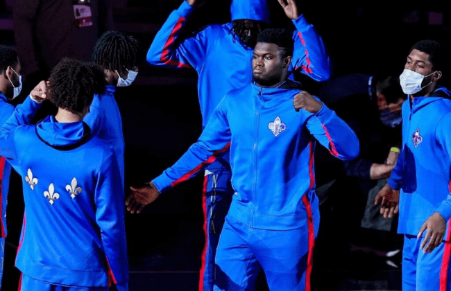 Jan 8, 2021; New Orleans, Louisiana, USA; New Orleans Pelicans forward Zion Williamson (1) is announced to the fans during the fist quarter against Charlotte Hornets at Smoothie King Center. Mandatory Credit: Stephen Lew-USA TODAY Sports