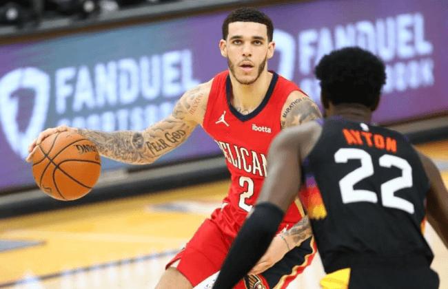 Dec 29, 2020; Phoenix, Arizona, USA; New Orleans Pelicans guard Lonzo Ball (2) against the Phoenix Suns at Phoenix Suns Arena. Mandatory Credit: Mark J. Rebilas-USA TODAY Sports