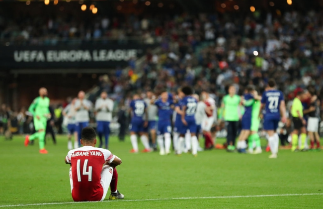 BAKU, AZERBAIJAN - MAY 29: A dejected Pierre-Emerick Aubameyang of Arsenal after losing the UEFA Europa League Final between Chelsea and Arsenal at Baku Olimpiya Stadionu on May 29, 2019 in Baku, Azerbaijan.