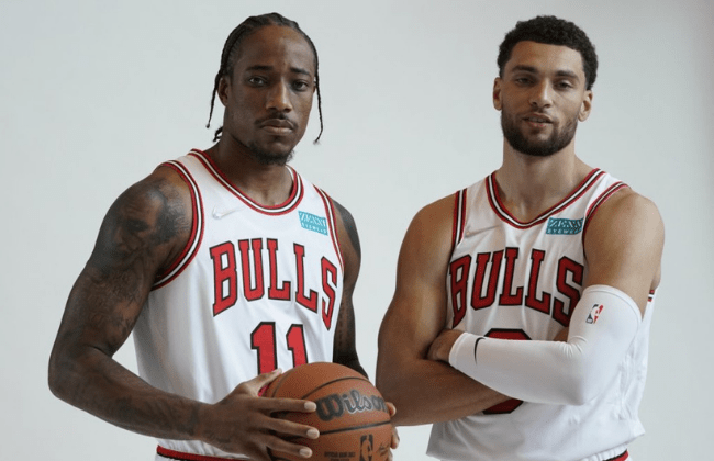 Sep 27, 2021; Chicago, Illinois, USA; Chicago Bulls guard Zach LaVine (8) and forward DeMar DeRozan (11) pose for photos during Chicago Bulls Media Day at the United Center. Mandatory Credit: David Banks-USA TODAY Sports