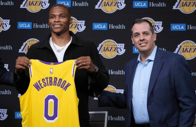 LOS ANGELES, CALIFORNIA - AUGUST 10: Russell Westbrook #0 and head coach Frank Vogel of the Los Angeles Lakers pose for a picture during a press conference at Staples Center on August 10, 2021 in Los Angeles, California. (Photo by Katelyn Mulcahy/Getty Images)