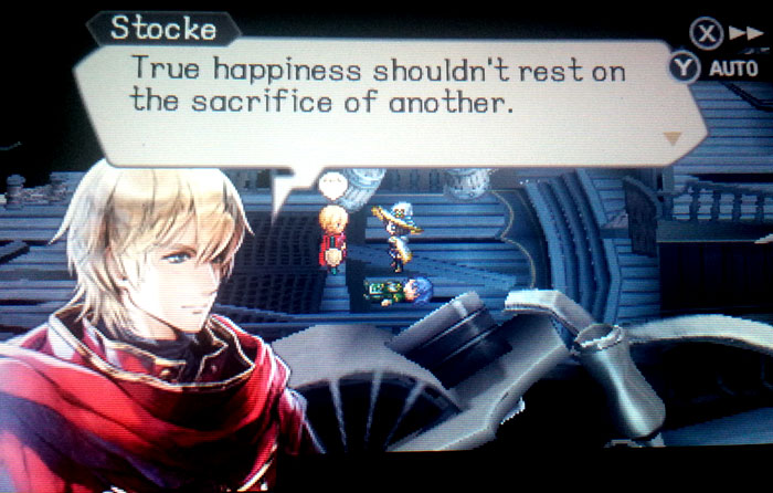 """""""True happiness shouldn't rest on the sacrifice of another."""" Screenshot from Radiant Historia: Perfect Chronology, developed and released by Atlus, 2017."""