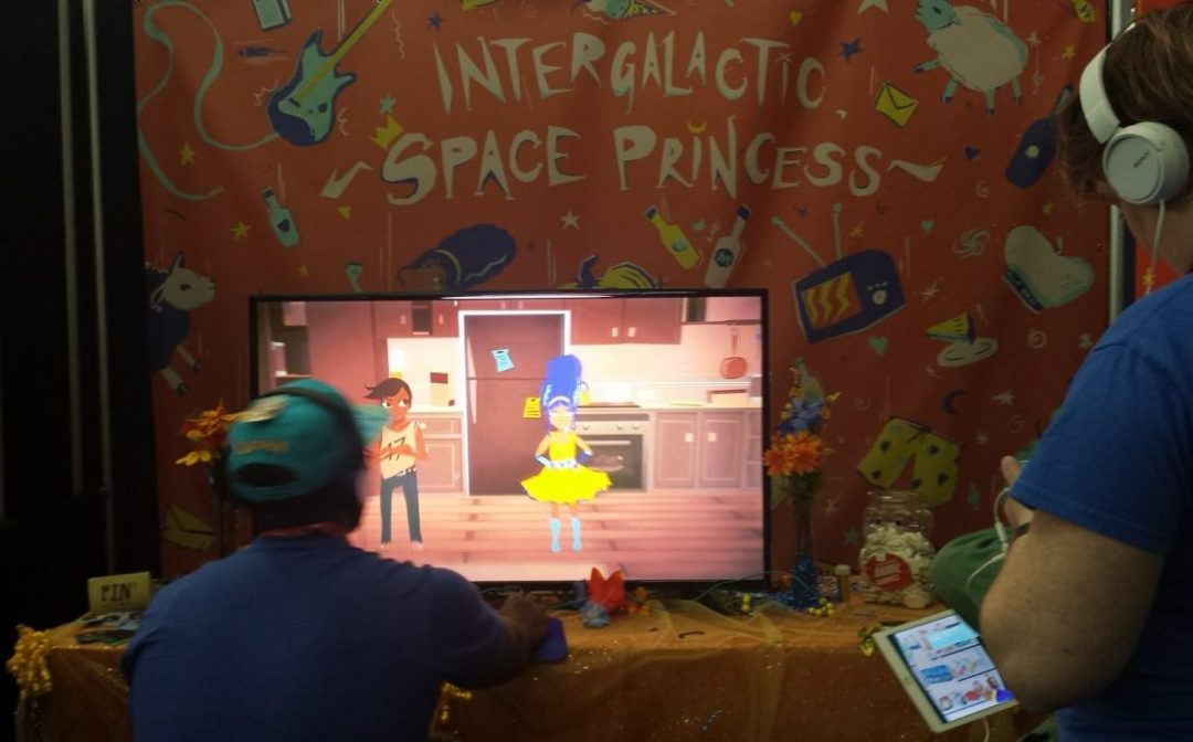 Live demo of Intergalatic Space Princess at PAX East. Photo by Brenda Noiseux.