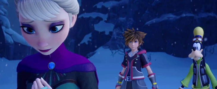 A frame from a cutscene of a conversation between Elsa and the trinity. Elsa looks away while Sora and Goofy watch. Kingdom Hearts III, Square Enix, 2018, Editing by Sammantha Sanchez