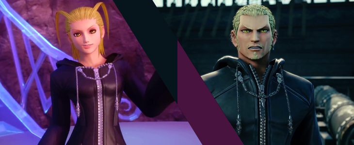 A split shot of Larxene and Luxord. Both have amber eyes. Kingdom Hearts III, Square Enix, 2018, Editing by Sammantha Sanchez