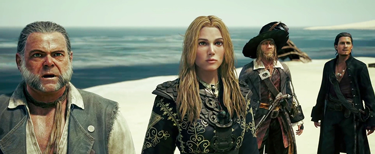 A frame from a cutscene in The Caribbean world. The cast of Pirates of the Caribbean(Gibbs, Elizabeth, Barbosa, and Will) look on. Kingdom Hearts III, Square Enix, 2018, Editing by Sammantha Sanchez