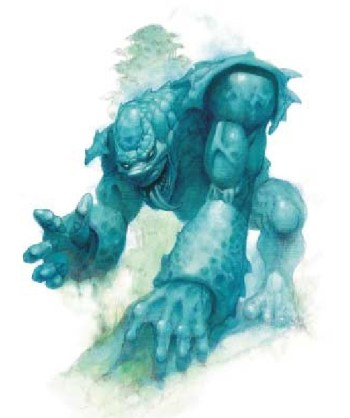 An image of a Skindancer from Dungeons & Dragons, a large blue creature that looks as though it's made of a thick chitinous skin.