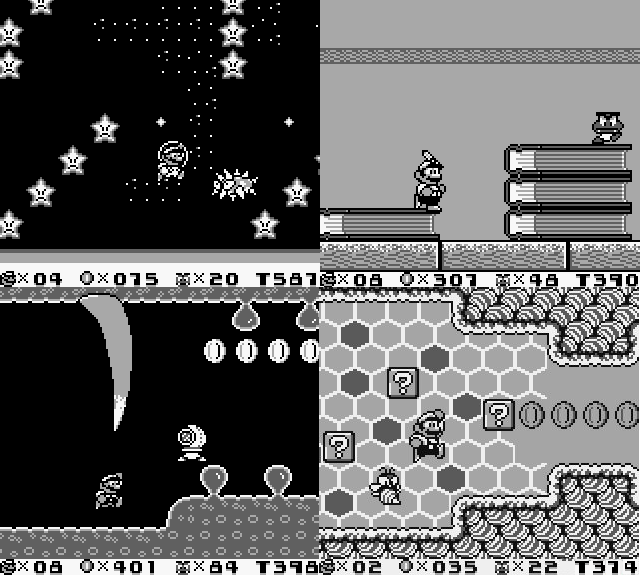 Four screenshots from Super Mario Land 2, featuring Mario in a spacesuit surrounded by frowning stars (space), Mario standing on a stack of giant books (giant house), Mario underneath the rib of a whale, and Mario in a beehive. Super Mario Land 2, Nintendo, 1992