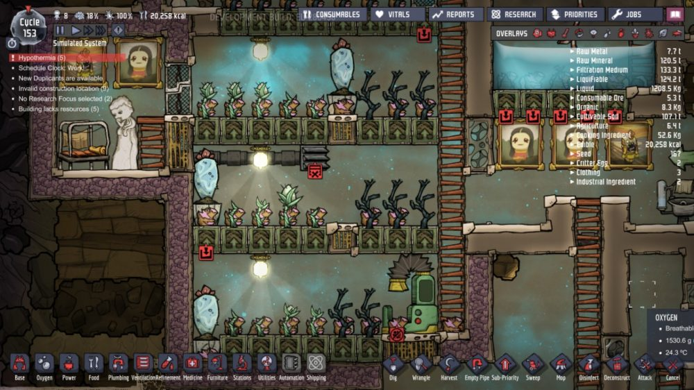 A screenshot of Oxygen Not Included, showing Joesph's farm. Oxygen Not Included, Klei Entertainment, 2017.