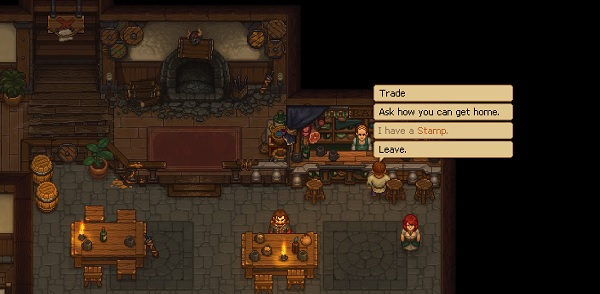 "A screenshot from Graveyard Keeper, wherein the player character stands in front of the barkeep in a tavern. The player's options are: ""Trade,"" ""Ask how you can get home,"" ""I have a Stamp"" (grayed out), and ""Leave."" Graveyard Keeper Alpha, Lazy Bear Games, tinyBuild, 2018"