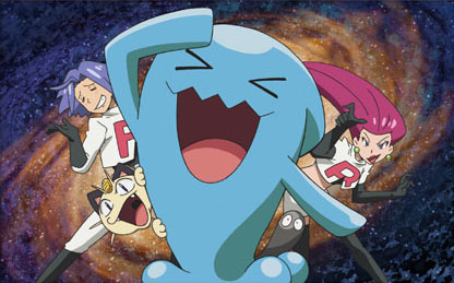 Picture of a Wobbuffet, a cheerful-looking blue inverse teardrop-shaped Pokemon, with Team Rocket in the background. Official art from the Pokemon TCG by Satoshi Nakano. Released as part of the Ash vs Team Rocket Deck Kit. Pokemon Trading Card Game released by The Pokemon Company International, 2017.