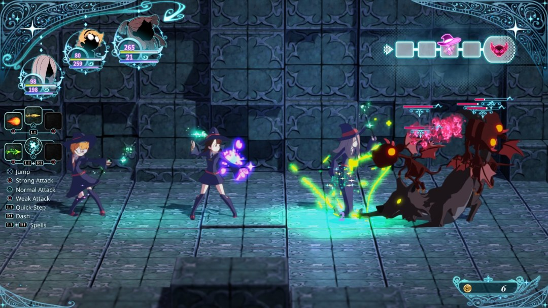 A battle screenshot from Little Witch Academia: Chamber of Time. Three students face off with a magical beast, each glowing with their own color of magic. The battle is 2D, on one plane, but all the graphics are rendered in 3D. Little Witch Academia: Chamber of Time, A+ Games, Bandai Namco Entertainment, 2017