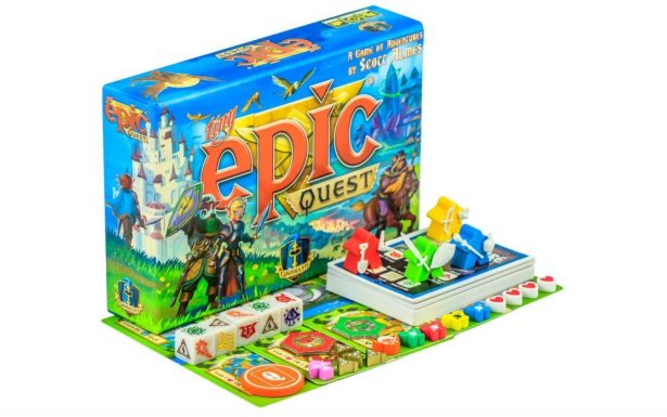 "A photo of ""Tiny Epic Quest."" The game includes five six-sided dice with symbols instead of numbers, four ""meeples,"" a deck of cards, and various tokens and layout pieces. All are incredibly colorful, leaning towards red, yellow, green, and blue."