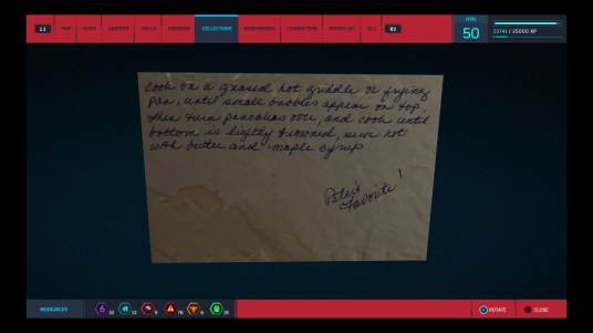 """A screenshot of the stained, handwritten recipe card with a note reading, """"Peter's favorite!"""""""