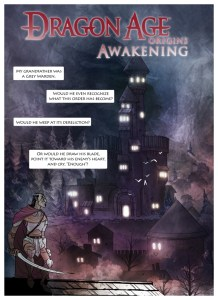 Cover of Dragon Age Origins - Awakening Webcomic. Penny Arcade, February 2010.