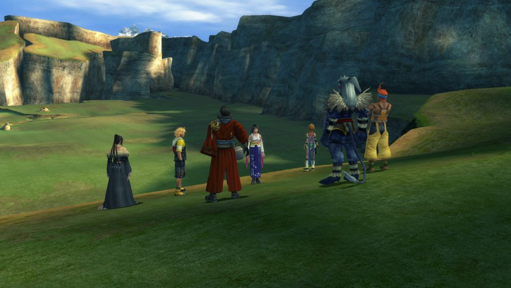 An image of Final Fantasy X's party members in the Calm Lands.