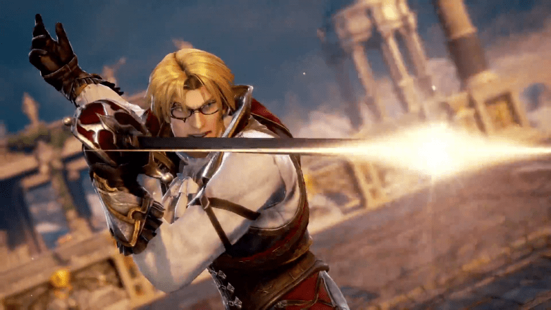 Raphael from Soulcaliber VI, a blonde, bespectacled man pointing a sword to someone off-screen. Soulcalibur VI, Bandai Namco, 2018.