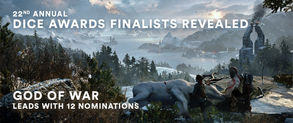 """An image from God Of War showing Kratos and Atreus looking over nature. The words """"22nd annual DICE awards finalists revealed. God Of War leads with 12 nominations,"""" are superimposed over the top."""