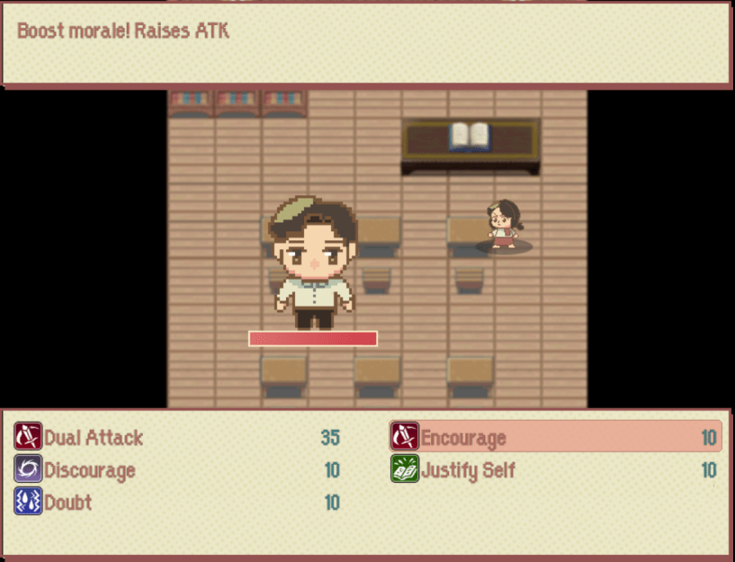 "An example of the combat in Mamayani. In the background, the sprite of a young woman faces a desk in what appears to be a classroom. In the foreground, a larger sprite of a young boy stands above an HP bar. The text in a caption box at the top of the image reads, ""Boost morale! Raises ATK."" At the bottom of the screen, the text box lists actions: ""Dual Attack,"" ""Discourage,"" ""Doubt,"" ""Encourage,"" ""Justify Self."" ""Encourage"" is highlighted in red."