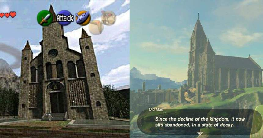Screenshots of the Temple of Time in Ocarina of Time and in Breath of the Wild. The Legend of Zelda: Ocarina of Time, Nintendo, 1998. The Legend of Zelda: Breath of the Wild, Nintendo, 2017.
