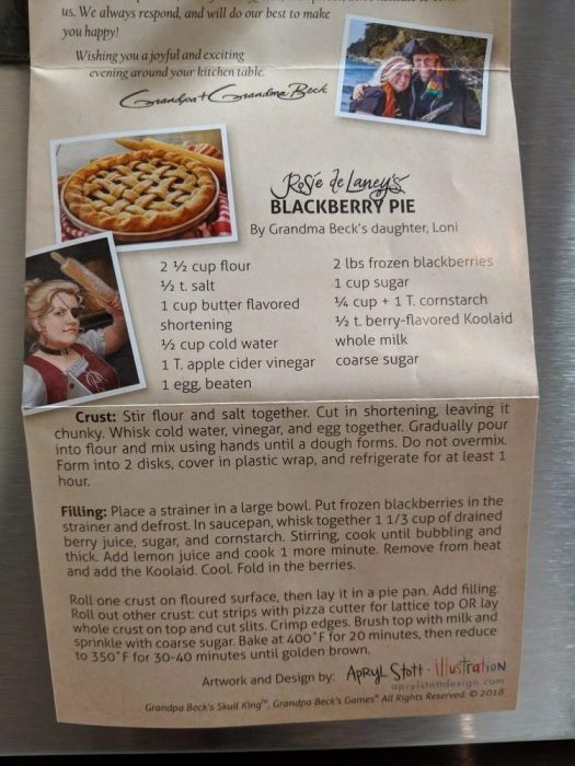 Rosie de Laney's Blackberry Pie recipe from Skull King (Grandpa Beck's Games, 2018; transcription in text)