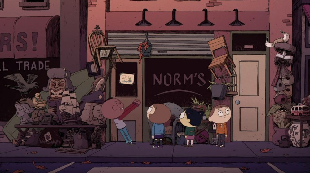 "A screenshot of the Costume Quest show showing the four main characters trying to open the door to a shop called ""NORM'S."" Costume Quest, Frederator Studios, Amazon Studios, 2019."