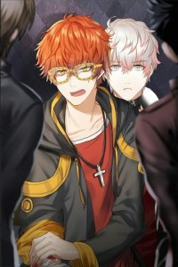 Seven clutches his arm and stands in front of Saeran, blocking him from the others. Mystic Messenger, Cheritz, 2016.