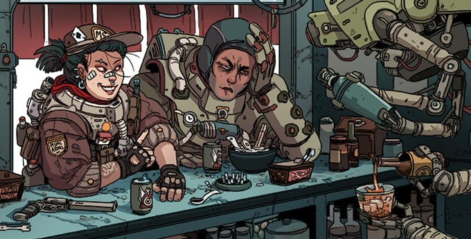Two rough-looking humanoids wearing combat armor are seated at a bar. The counter is a mess, covered with beer cans, cigarettes, and even a pistol. A robot is making a drink, peering in from the right of the frame. Lancer, Massif Press, 2019.